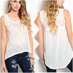 "Rhinestone Burnout Top  Burnout White Top. This sleeveless top features burnout floral design, scooped neckline and hi-low hem. Material : 100% Polyester. Made in China. Measurement Armpit to Armpit laying flat. Size         M Bust: 16"" Length: Front 22"" Back 28""  Discount on bundles Tops Tank Tops"
