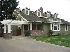 The Rich Poor House: Before and After Photos - red brick, white trim, dark sage paint.