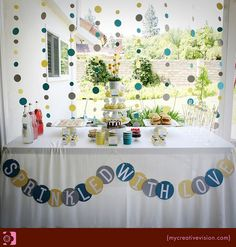 "I looove the ""Sprinkled with love"" banner. Perfect for a baby sprinkle/shower."