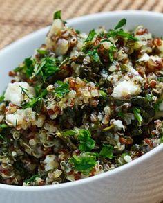 Low FODMAP Recipe and Gluten Free Recipe - Red quinoa, feta & spinach salad http://www.ibssano.com/red_quinoa.html