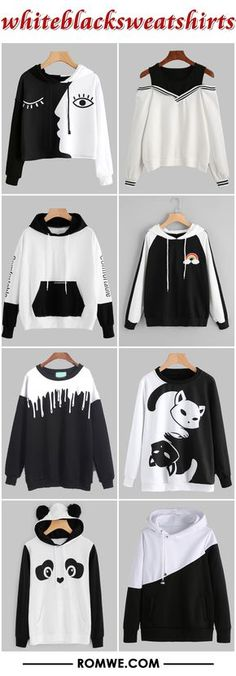 white black sweatshirts from romwe. Girls Fashion Clothes, Teen Fashion Outfits, Girl Fashion, Girl Outfits, Womens Fashion, Mode Kawaii, Cooler Look, Outfit Trends, Kawaii Clothes