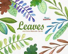 Leaves Watercolor Clip Art Set Hand drawn Leaves Diy clip