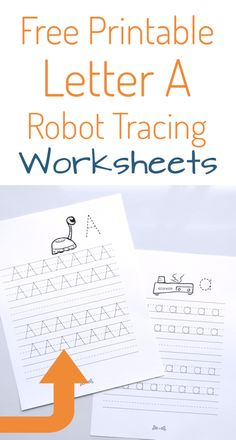 Robot Letter Tracing Free Printable A - Create in the Chaos Letter Tracing Worksheets Pdf, Tracing Letters, Printable Letters, Printable Crafts, Preschool Worksheets, Printable Worksheets, Free Printables, Preschool Alphabet, Handwriting Worksheets