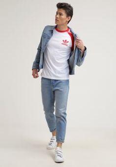 adidas Originals - T-shirts med print - white/vivred