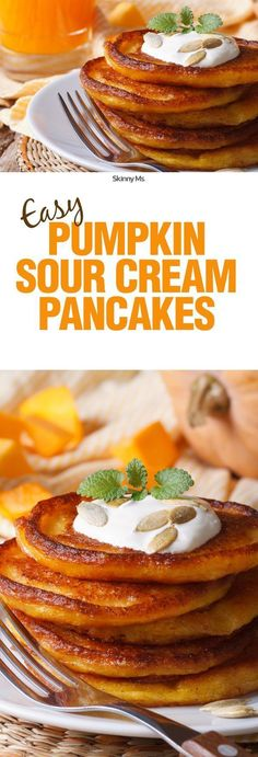 These pancakes taste as good as they look. They're on repeat for my breakfast menu all season, plus I like to keep some in the fridge for snacking! They're Easy Pumpkin Sour Cream Pancakes.