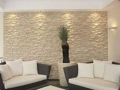 Stone Accent Walls, Accent Walls In Living Room, Living Room Colors, Living Room Designs, Living Room Decor, Living Rooms, Apartment Living, Stone Wall Living Room, Stone Walls