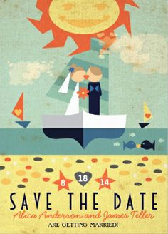 Very cute beach nautical #save_the_date wedding invitations. Easy to customize!