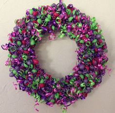 Purple Green and Pink Balloon Wreath by LittleCraftyCottage, $50.00