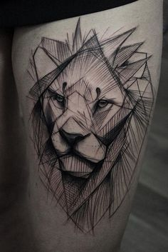 unique Animal Tattoo Designs - Sketched lion tattoo by Kamil Mokot. Body Art Tattoos, Girl Tattoos, Tatoos, Lion Tattoo On Thigh, Berlin Tattoo, Geometric Lion Tattoo, Tattoo Abstract, Lion Sketch, Petit Tattoo