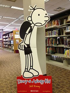 2013 April - Diary of a Wimpy Kid at Rensselaer Jeff Kinney, Book Characters, Fictional Characters, Wimpy Kid, Seasonal Decor, School Ideas, Snoopy, Display, Seasons