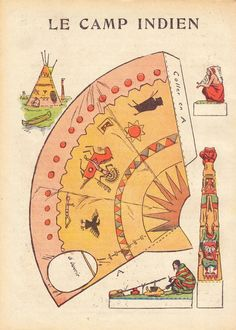 Printable Native American Camp - misconceptions: totem pole would be west/coastal whilst tipi is plains. Native American Crafts, American Indian Art, Native American Indians, Papel Vintage, Vintage Paper Dolls, Native Indian, Native Art, Diy With Kids, Forte Apache