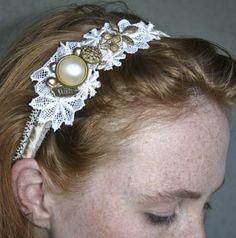 Gold and ivory  little wish headband. $34.00, via Etsy.
