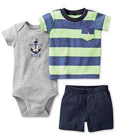 Carter's Baby Boys' 3-Piece Short-Sleeved Tee, Bodysuit & Shorts Set