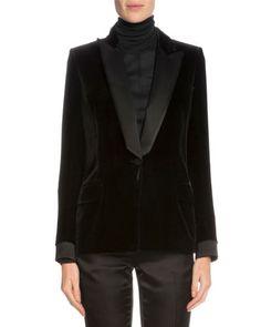 One-Button Tuxedo Jacket, Black