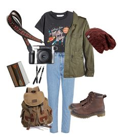 Spaced out by halehi on Polyvore featuring polyvore, fashion, style, Velvet by Graham & Spencer, Dr. Martens, Fujifilm, BIC, clothing, adventure and grunge