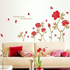 Red Peony Flowers Leaves Butterflies Wall Decal Home Sticker Paper Removable Living Dinning Room Bedroom Kitchen Art Picture Murals DIY Stick Girls Boys kids Nursery Baby Playroom Decoration >>> For more information, visit image link.