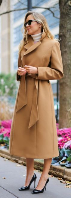A classic color palette: camel, beige, and black. | Click to shop long camel coats on ShopStyle.
