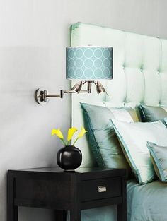 Aqua and chocolate brown contemporary bedroom.