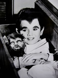 Eddie Munster and his Wolfie Doll. Going to sleeping the dresser drawer for the night.