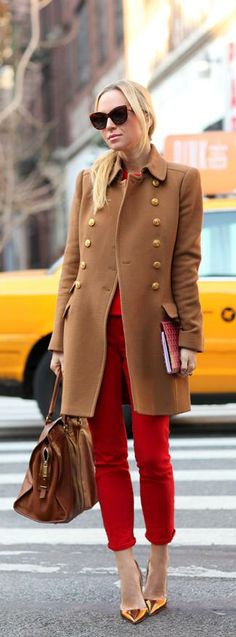 Camel and Red {Again}    http://www.brooklynblonde.com/2013/12/camel-and-red-again.html