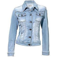 Heine Denim Jacket ($25) ❤ liked on Polyvore featuring outerwear, jackets, embellished jacket, blue denim jacket, embellished jean jacket, tailored jacket and blue jackets