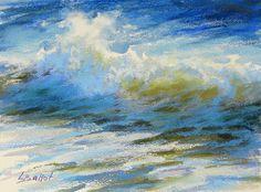 Ocean wave painting Pastel seascape Breaking wave by LanaBallotArt