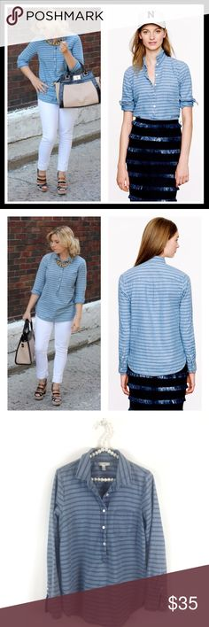 j. crew // stripe chambray popover denim top One of our favorites this season, this easy pop-it-on-and-go silhouette is made from real indigo-dyed chambray and finished with tonal stripes. Cotton chambray. Machine wash. Gently worn and in great condition. J. Crew Tops Button Down Shirts