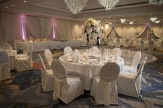 A stunning wedding at last year. Venue decor, draping and flowers by Finesse Weddings Wedding Venue Decorations, Wedding Venues, Table Decorations, Draping, Table Settings, Weddings, Flowers, House, Furniture