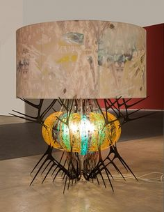 Jorge Pardo, Untitled (Sea Urchin) aluminum, molded plexi, canvas, electrical cords, light bulb, approx. 54 × 60 × 60 inches, 2012, Courtesy of 1301PE, Photo: Michael Tropea.