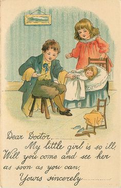 vignette of boy left sitting on chair, girl right behind doll on bed