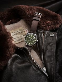 Two companies with proven American Spirit have come together to create this 46 mm pilot's watch that is limited to just 1,892 pieces. The watch is powered by the exclusive H-30 automatic movement and is unmistakably Hamilton. The custom dark brown leather strap and leather presentation pouch are unmistakably Schott NYC. It's a true American success story.