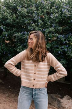 Julia Berolzheimer Stripe Edit featuring a selection of crewnecks, cardigans, and turtleneck sweaters for layering with your favorite fall looks.