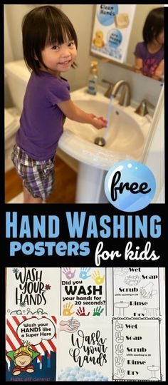 FREE Hand Washing Signs for Kids - Kindergarten - Low Carb Recipes Hand Washing Poster, Free Worksheets For Kids, Kindergarten, Health Lessons, Hygiene Lessons, School Closures, Kids Hands, Lessons For Kids, Educational Activities