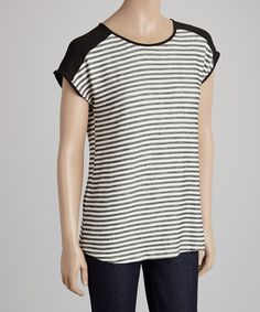 Black & Ivory Stripe Cape-Sleeve Top. Love! Sooo cute with any type of bottoms!