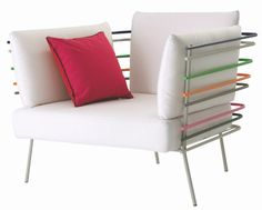 Colorful bars arm chair by Cédric Dequidt