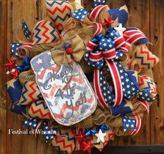 Patriotic Wreath 4th of July Wreath Burlap by FestivalofWreaths