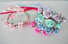 Paper Flower Crown Headband for Wedding pink by SweetLittleMelody
