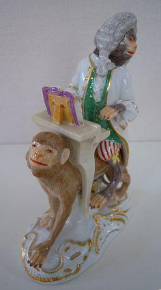 Neuwertige MEISSEN Porzellan-Figur der Affenkapelle ...