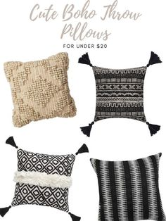 These boho pillows from Walmart are super cute and all under $20! Theyd be great on your outdoor furniture or in your living room.   home | home decor | throw pillows | living room | outdoor furniture | backyard   #home #homedecor #throwpillows #livingroom #outdoorfurniture #backyard