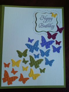 Rainbow butterfly birthday card (SU)