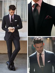 How to wear a Black Suit with a Pink Shirt