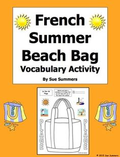 French Summer Beach Bag Sketch and Label Vocabulary Activity Worksheet by Sue Summers