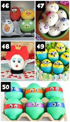 Decorating Easter Eggs Like Popular Characters We're sharing over 100 Easter egg decorating ideas! Including ideas for toddlers, kids, teens, AND adults. Time for some Easter egg family fun! Festa Hot Wheels, Instruções Origami, Easter Egg Designs, Easter Ideas, Easter Egg Crafts, Egg Art, Easter Party, Easter Subday, Funny Easter Eggs