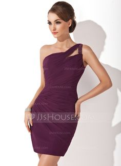 Sheath/Column One-Shoulder Short/Mini Chiffon Cocktail Dress With Ruffle Beading (016008418)