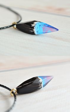 Galaxy pendant made from wenge wood and blue jewelry resin