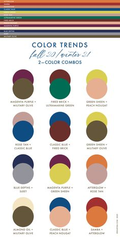Pantone Fall 2020 Winter 2021 Color Pairs by Erika Firm Color Combinations For Clothes, Color Combos, Clothing Color Combinations, Best Color Combinations, Color Mixing Chart, Color Blocking Outfits, Color Charts, Color Schemes, Mode Inspiration