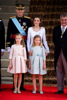 Spanish King Felipe VI, Queen Letizia, Princess Leonor of Asturias and Infanta Sofia arrives to Congress for the crowing, 19.06.2014 ahead of a joint session of parliament