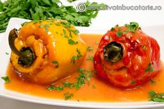 ardei-umpluti-de-post Romanian Food, Vegetable Recipes, Bacon, Food And Drink, Stuffed Peppers, Vegetables, Cooking, Nicu, Salads