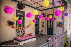 Love the tissue balls and laterns hanging from the ceiling