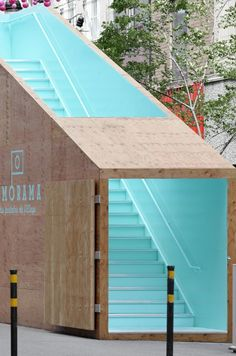 Plywood. #signage #design #wayfinding #plywood #turquoise #staircase #environment